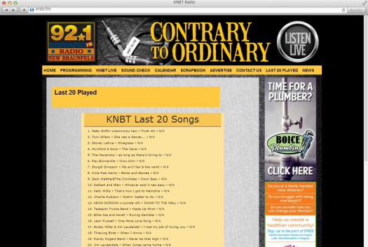 KNBT Radio Last Played Page