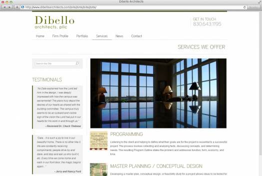 Dibello Architects Services Page