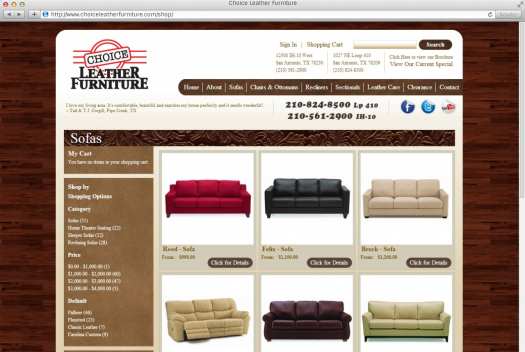 Choice Leather Furniture Store Page
