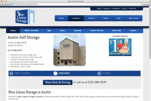 Blue Llama Storage Location Page