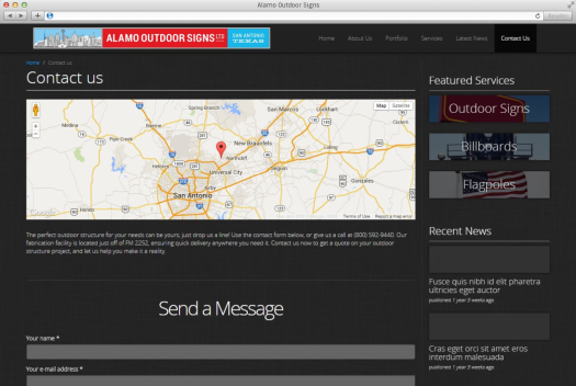 Alamo Outdoor Contact Page
