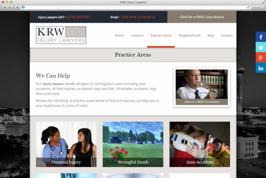 KRW Injury Lawyers Practice Areas Page