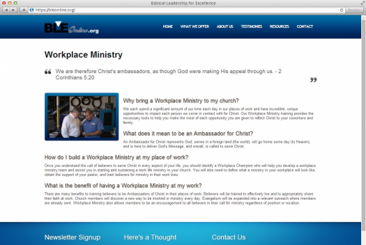 Biblical Leadership for Excellence Workplace Ministry Page