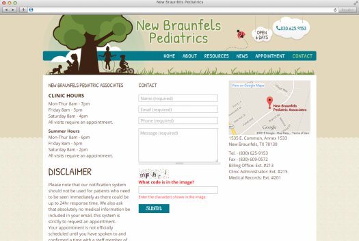 NB Pediatrics Contact Page