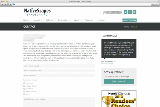 NativeScapes Landscaping Contact Page