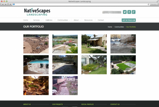 NativeScapes Landscaping Portfolio Page