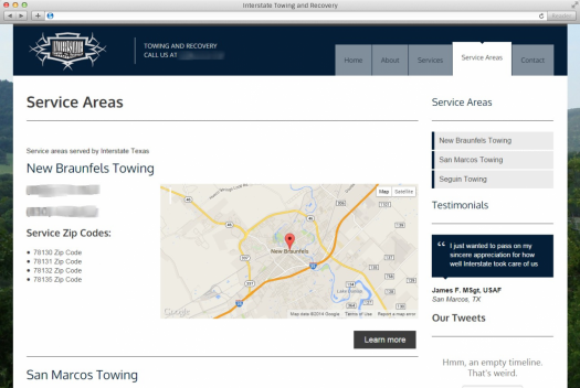 Interstate Towing Service Areas Page