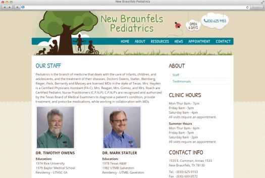 NB Pediatrics Staff Page