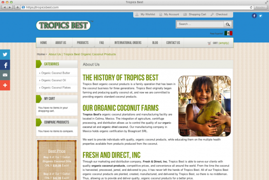 Tropics Best Coconut Oil Web Design